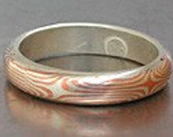 Mokume Gane Ring in Sterling Silver/Copper