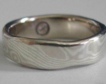 Mokume Gane Ring in 14K white gold/sterling