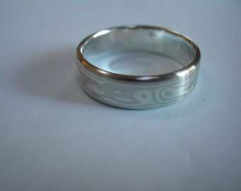 Mokume gane ring in nickel siver/sterling