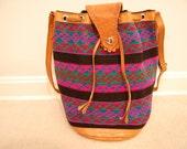 Vintage Southwestern Woven Leather Bucket Bag