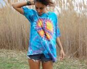 Vintage Peace Sign Tie Dye Oversized TShirt Unisex XL