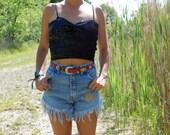RESERVED-Vintage Sun and Moon Frayed Lightwash Denim Cut Off Shorts