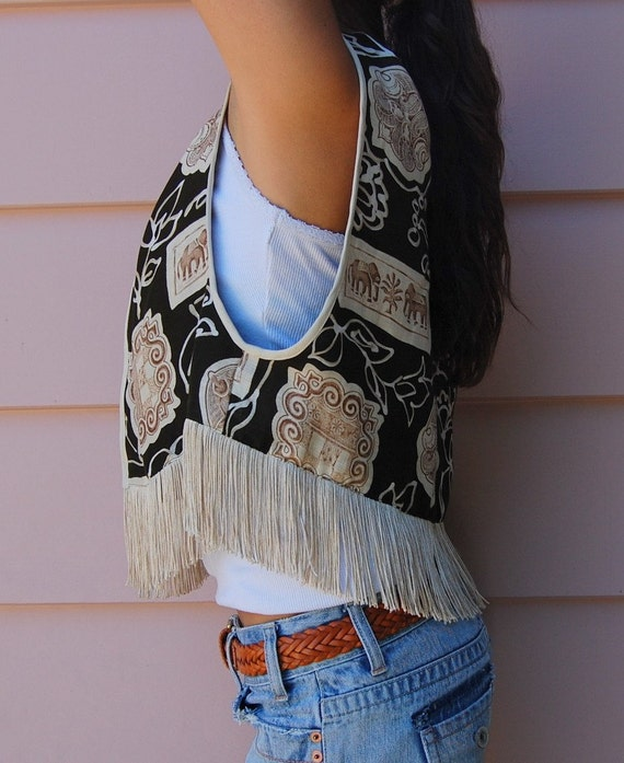Vintage Boho Fringe Vest with Ethnic Animal Elephant Print