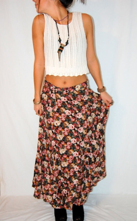 Beautiful Flower Maxi Skirt Rayon Grunge Floral Rose Flower Full Length Skirt