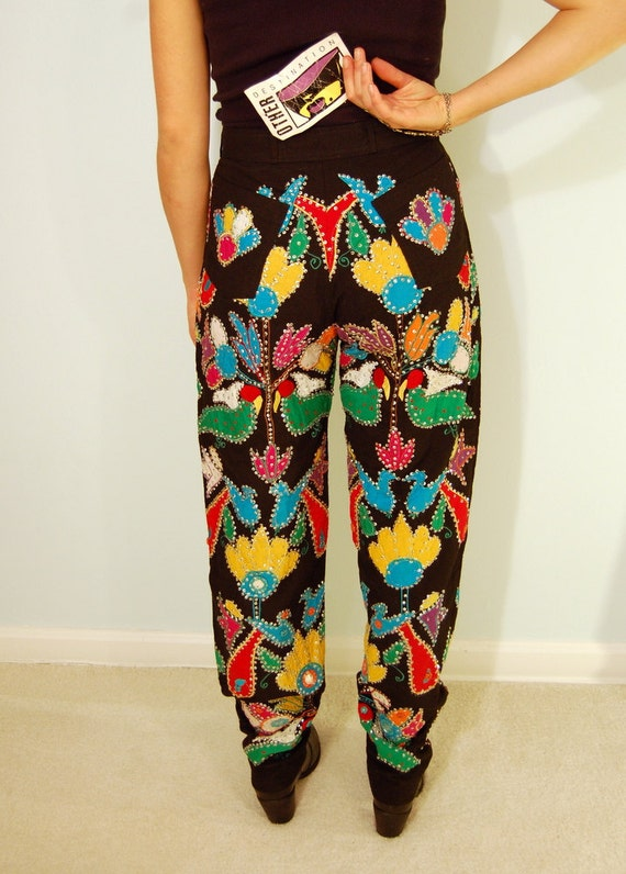 Reserved--Vintage Rainbow Bird and Flower Sequin and Mirror Pants Ethic Tribal Canvas Pants