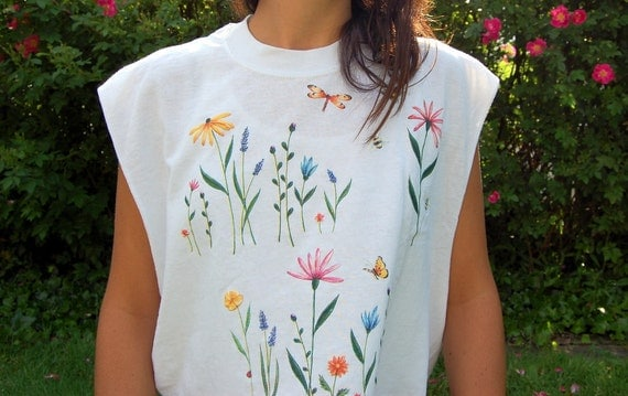Vintage White Flower Crop Top with Butterflies and Bees  Cut Off Tank