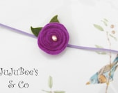 SALE Your Highness Royal Purple Wool Felt LolliPop Flower Headband with Pearl Center Photography Props We