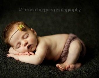 NEW PLUM COLOR BAND Newborn to Adults Tiny Autumn Flower on Petite Elastic Headband - Custom Size