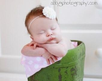 White Pom Pom Flower  on Petite Elastic Stretch Headband  Photography Props Weddings Flower Girls Newborn Baby