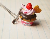Chocolate Muffin top with Strawberry Necklace
