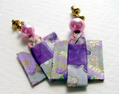 Origami Kimono Earrings- Pink and Purple