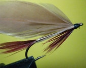 Fly fishing lure, Streamer, clear water is best, Tan, Red Feathers