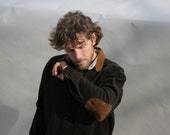 Vintage Mens Shirt Wool Plaid Brown Navy  Suede Elbows Collar
