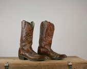 Vintage Mens Leather Cowboy Boots Ox Blood Red Acme