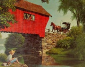 Vintage Art Lithograph Print Covered Bridge Paul Detlefsen