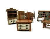 Antique Vintage Doll Furniture Set 12 Pieces Handmade Wood 1940's