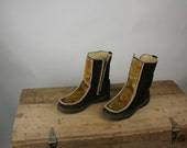 Vintage Boots Winter Eskimo Leather Faux Fur Brown