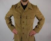 Vintage Lightweight Coat Mens Corduroy Camel Beige Tan