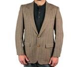 Vintage Mens Suit Coat Tweed Wool Herringbone Taupe Brown College Professor RESERVED for ALEX