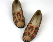 Vintage Huarache Flats Southwestern Leather