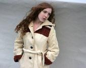 Vintage Long Coat Hood Cream Rust Navy Rustic Distressed