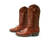 Vintage Mens Cowboy Boots Terra Cotta Brown