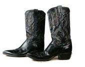 Vintage Mens Leather Cowboy Boots Black Rainbow Stitching Justin