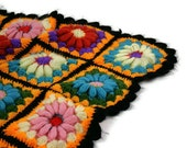 Vintage Afghan Blanket Crocheted Granny Squares Daisies Multicolored Vibrant