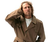 Vintage Mens Jacket Coat Trench Rain Taupe Brown