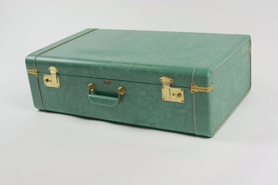 Vintage Antique Suitcase Luggage Teal Green Town Craft KEYS INCLUDED