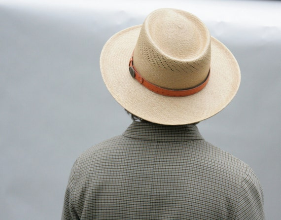Vintage Hat Straw Broad Brim Leather Trim