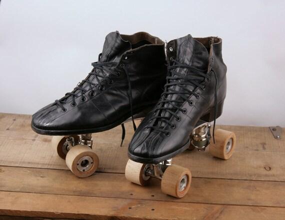 Vintage Antique Roller Skates Mens Chicago Hyde Black Wooden