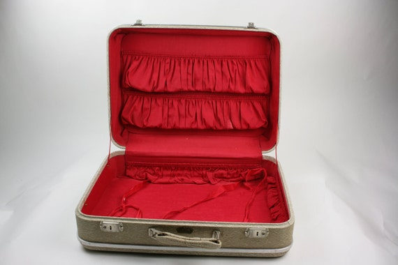 Vintage Antique Suitcase Luggage Textured Ecru Gray Royal Chicago