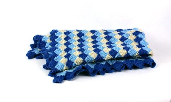 Vintage Afghan Blanket Crocheted Patchwork Squares Shades of Blue Cream