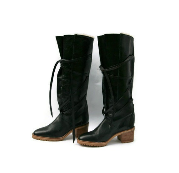 Vintage Boots Tall Black Leather Goth Punk
