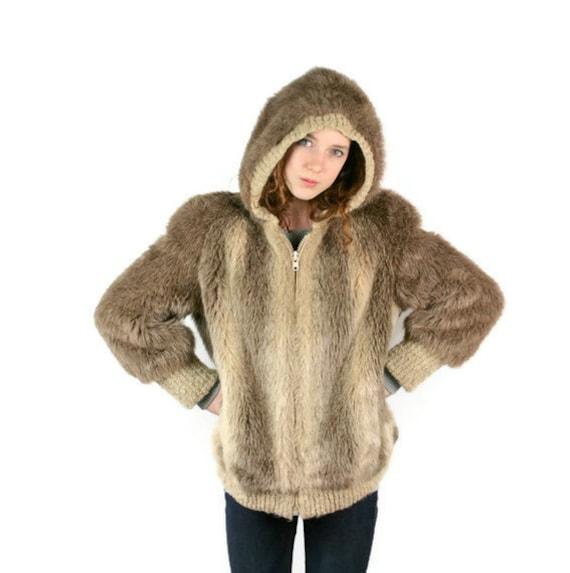 Vintage Jacket Vegan Faux Fur with Hood Brown