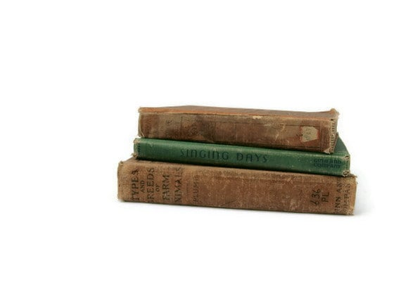 Vintage Antique Hardcover Books Instant Collection Brown Green American Europe Farm Animals Song Book
