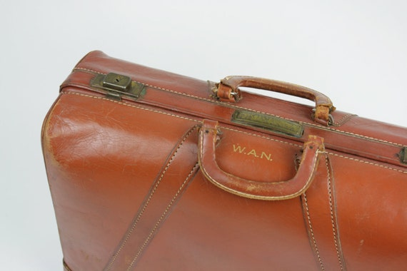 Vintage Antique Suitcase Luggage Cowhide Leather Terra Cotta 1930s 40s Satchel