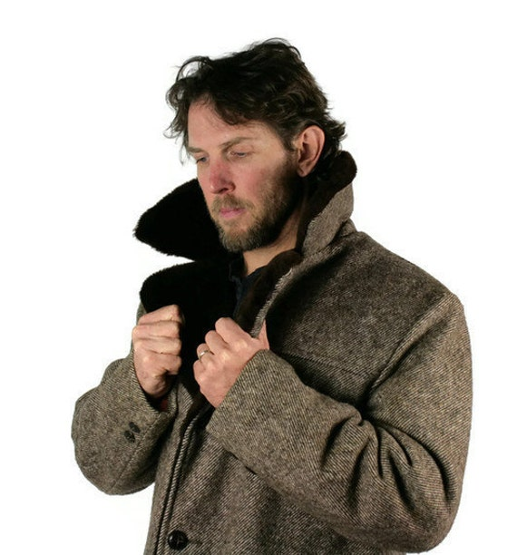 Vintage Mens Winter Coat Jacket Tweed Wool Brown Faux Fake Fur
