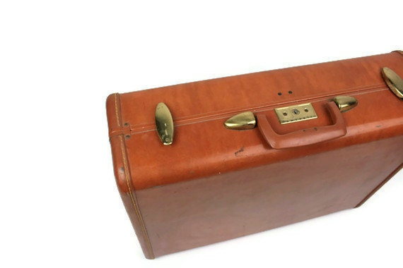Vintage Luggage Suitcase Hard Samsonite 1940s 50s Caramel Brown