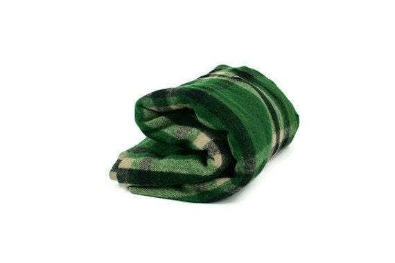 Vintage Blanket Wool Plaid Green Black Cream