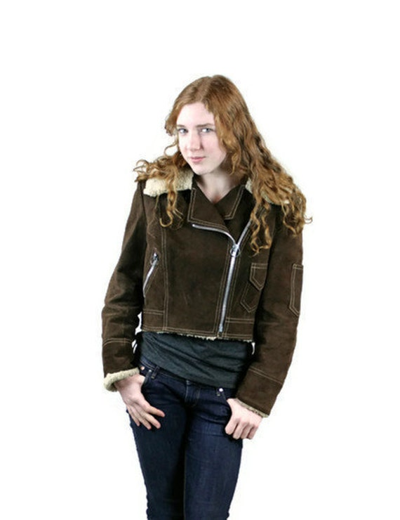 Vintage Jacket Suede Leather 1960s 1970s Bomber Faux Fur Lining