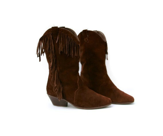 Vintage Boots Cowboy Suede Leather Brown Fringe