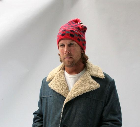 Vintage Ski Hat Knit Red Navy Blue Sea Green Geometric