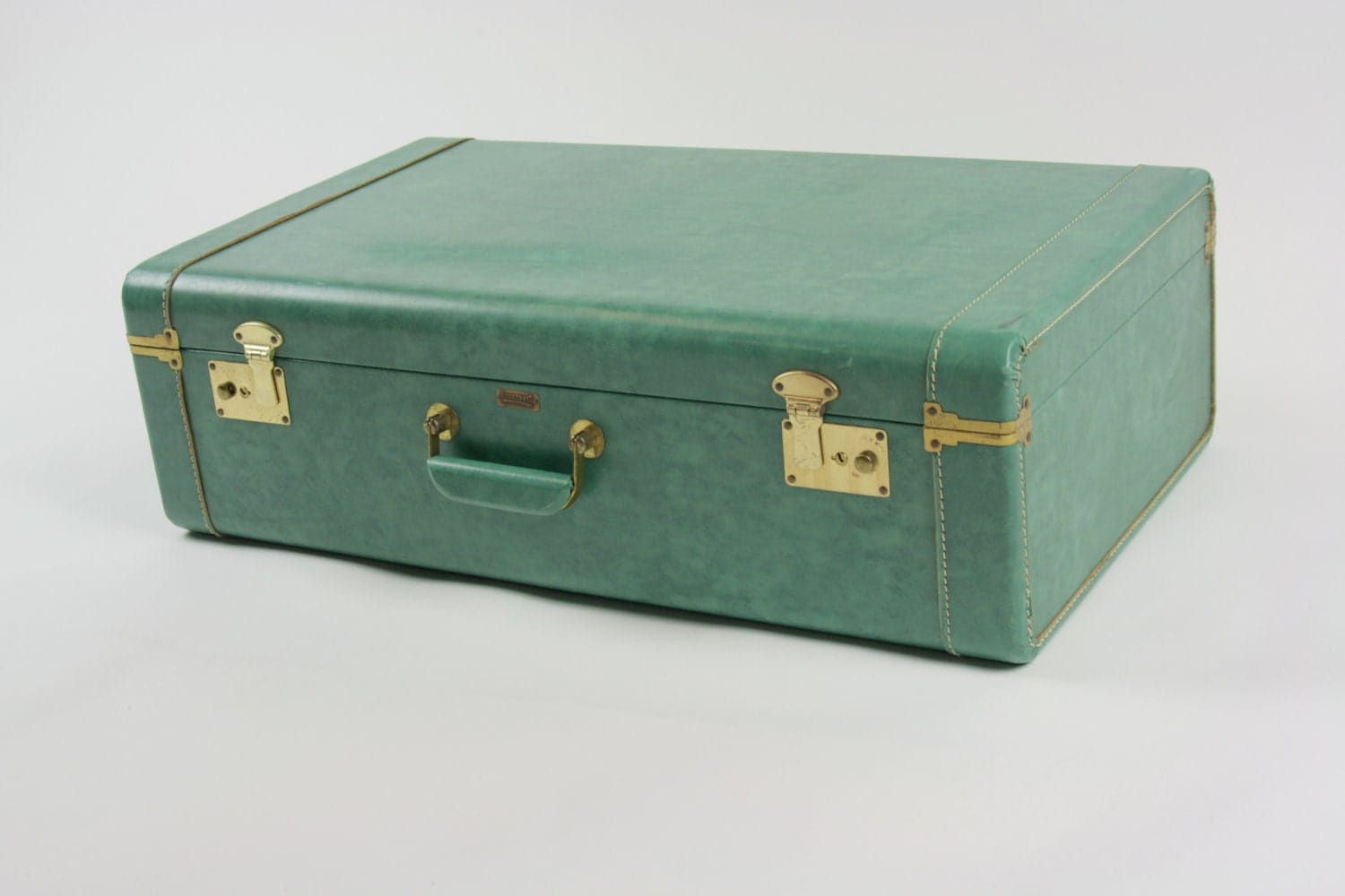 Vintage antique suitcase luggage teal green town craft keys - Vintage suitcase ...