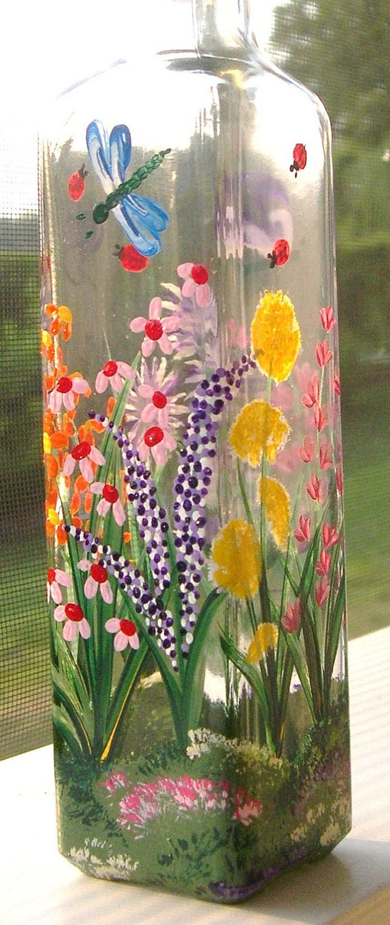 Hand painted glass butterfly dragonfly lady bug wildflower for How to paint glass with oil paint
