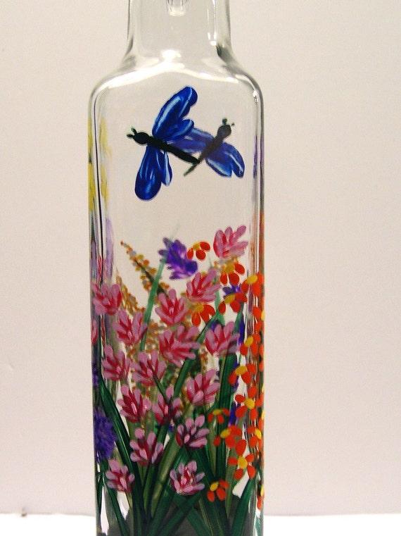 Hand Painted Wild Flower Purple Yellow Butterfly Pour, Dragonflies Soap, Oil, Vinegar Bottle Purple Orange Red Pink
