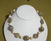 Jasper, Bone and Wood bead Necklace and Earrings