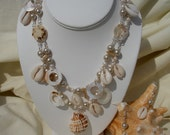 Freshwater and Glass Pearls with Mother of Pearl Necklace and Earrings