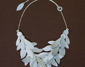 grey and silver leaf necklace